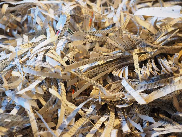 Photo of destroyed shredded documents